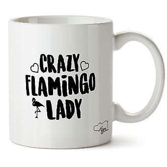 Hippowarehouse hullu Flamingo nainen painettu muki Cup keraaminen 10oz