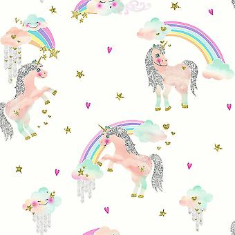 Rainbow Unicorn Wallpaper Girls Bedroom Glitter Sparkle White Silver Arthouse