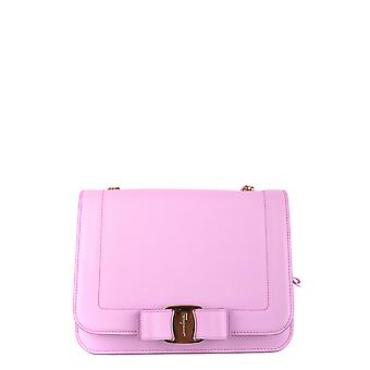 Salvatore Ferragamo 0685830 Kvinnor's rosa läder axelväska