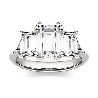 14K oro blanco Moissanite por Charles & Colvard 8x6mm Esmeralda anillo, 2.91cttw rocío