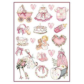 Stamperia Rice Paper A4 Baby Girl Decorations (DFSA4290)