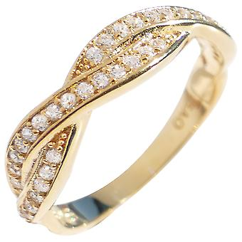 Ah! Jewellery Genuine Yellow Gold Vermeil Over Sterling Silver Braided Ring Band