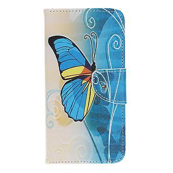 Samsung Galaxy A40 Portafoglio Caso Blu Farfalla