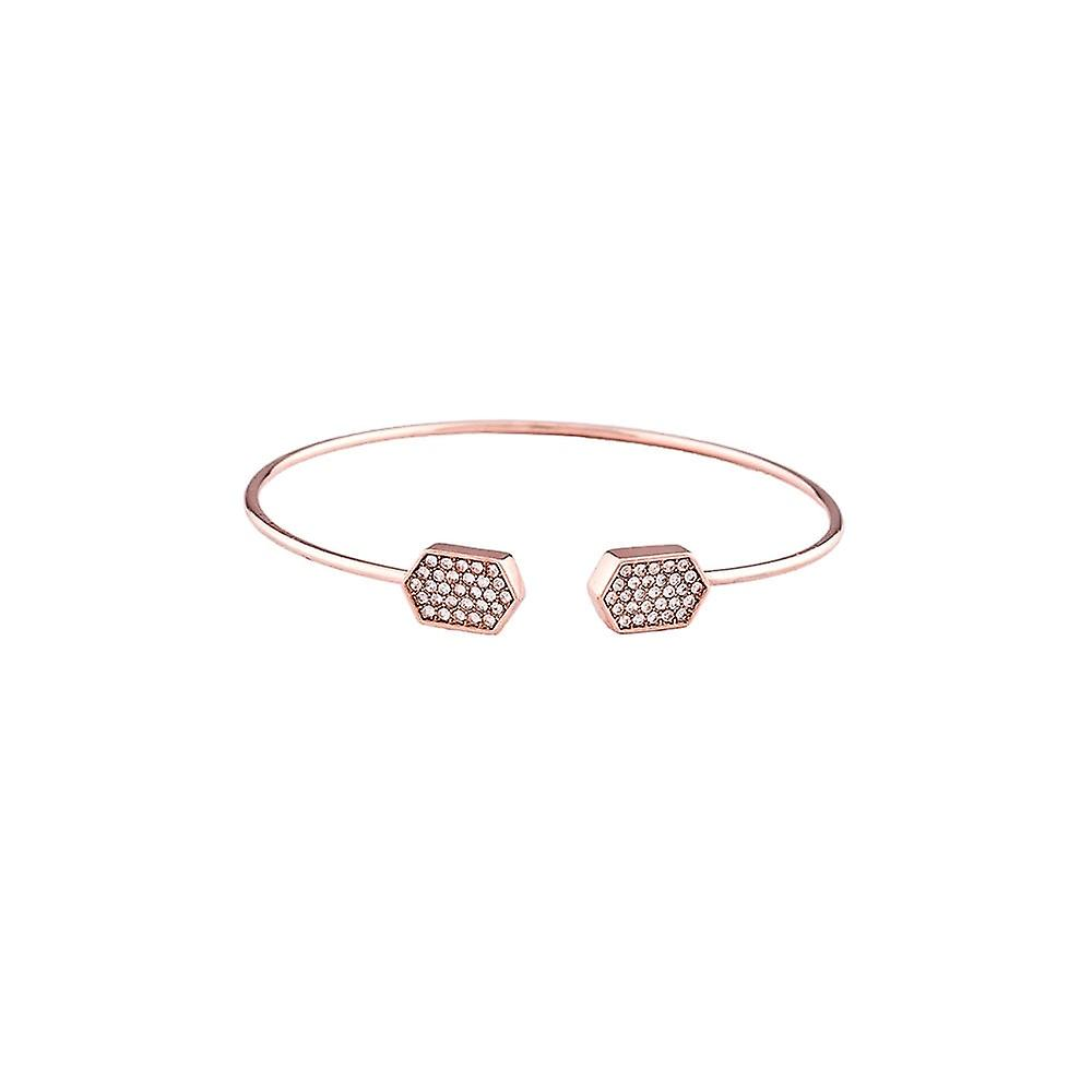 Belle & Beau Rose Gold Plated Hexagon Pave Torque Bangle