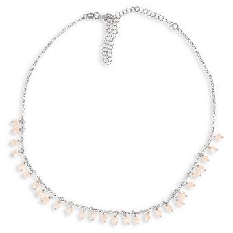 Sølv halskæde Rhodié Breloque Cristal 32-10cm