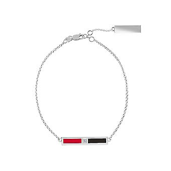 New Jersey Devils Sterling Silver Diamond Chain Bracelet In Red and Black