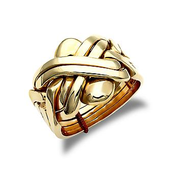 Jewelco London mäns solid 9ct gult guld 6 bit pussel ring