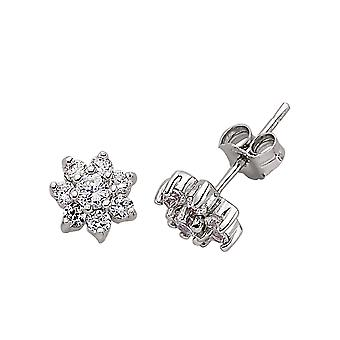 Jewelco London Rhodium Plated Sterling Silver Round Brilliant Cubic Zirconia Flower Cluster Stud Earrings