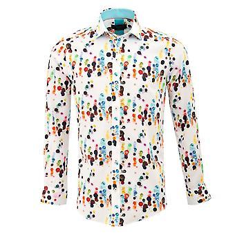 Gids Londen witte katoen satijn levendige knop Afdrukken Mens Shirt