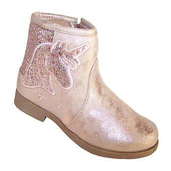 Girls sparkly pink Unicorn ankle boots