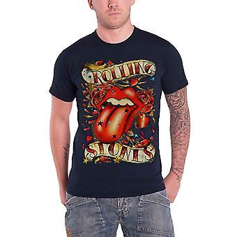 De Rolling Stones T shirt klassieke tong en sterren logo officiële mens nieuwe blauw