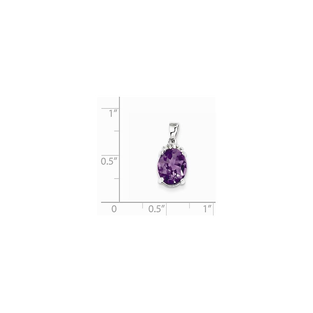 925 Sterling Silver Polished Prong set Open back Rhodium Amethyst and Diamond Pendant Necklace Jewelry Gifts for Women