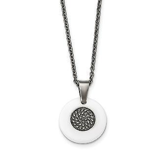 Edelstahl Fancy Hummer Verschluss poliert Kreis weiß Keramik CZ Zirkonia simuliert Diamant Halskette 22 Zoll