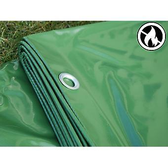 Afdekzeil 6x12m, PVC 500g/m², Groen, Vlamvertragende