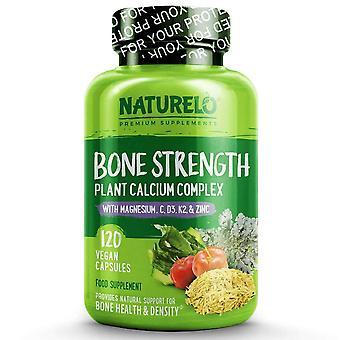 Bone strength with natural calcium, magnesium, vitamin c, d3, & k2 - 120 caps | 1 month supply (vegan)