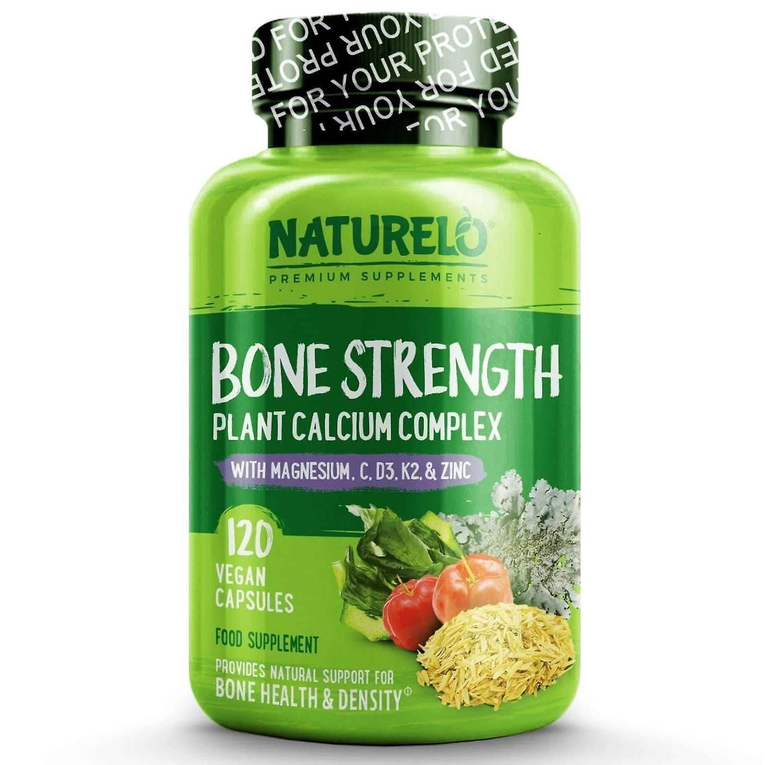 Resistencia ósea con calcio natural, magnesio, vitamina c, d3 y k2 - 120 tapas ? Suministro de 1 mes (vegano)