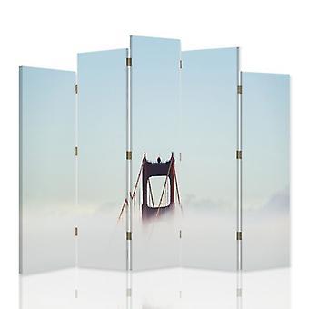 Divisória decorativa, 5 painéis, dupla face, lona, ponte nas nuvens