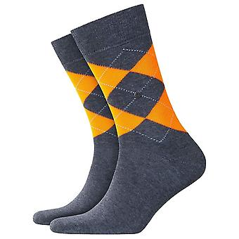 Burlington King Neon Socks - Dark Grey/Orange