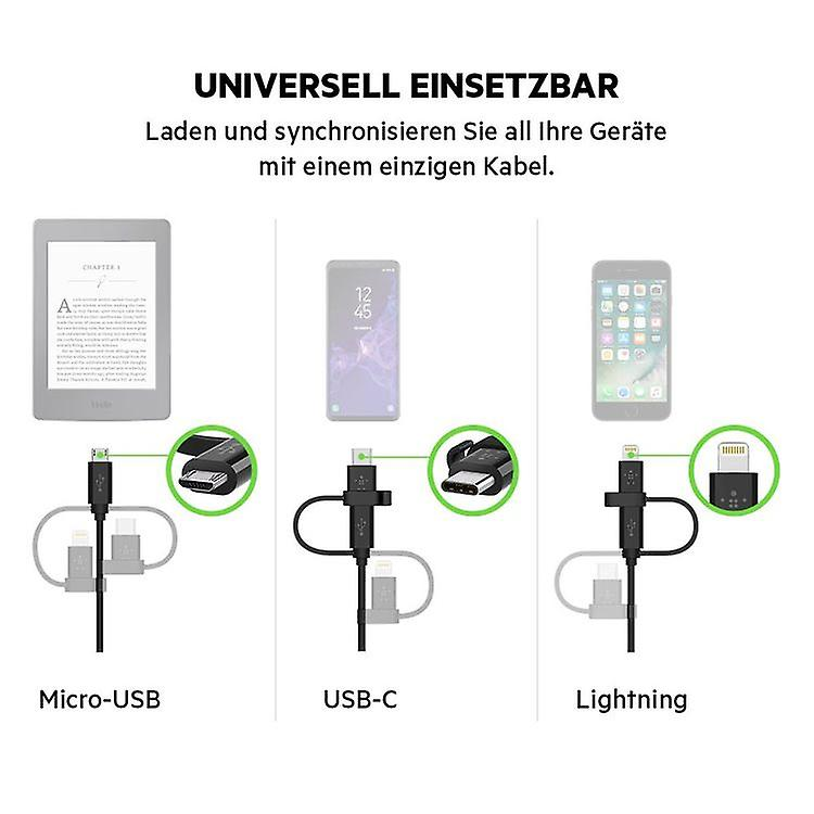 Belkin Universal Micro-USB-C Charging and Data Cable with Lightning Connector Adapter, 1.2m, Black