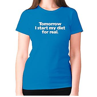 Womens funny gym t-shirt slogan tee ladies workout - Tomorrow I start my diet for real