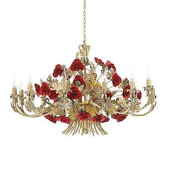 Ideal Lux Camilla 12 Colgante Ligero Rojo Claro IDL173917
