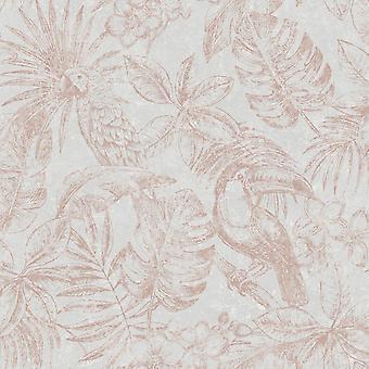 Sankuru metallic tropisch behang grijs/Rose goud Muriva 164502