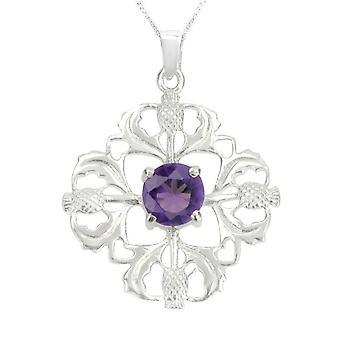 "Scottish Thistle Flower Of Scotland Necklace Pendant - Amethyst Colour Stone - Includes 22"" Chain"