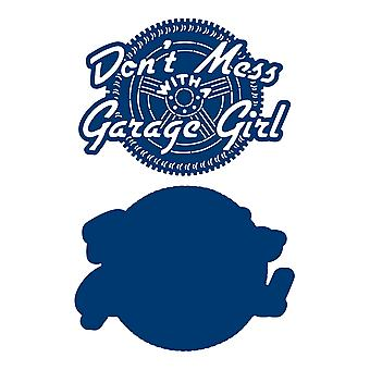 Tattered Lace Don't Mess with a Garage Girl Die Set