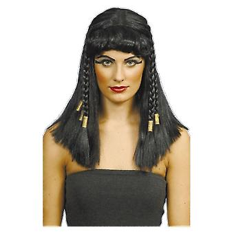 Black Cleopatra Wig With Braids Egyptian Fancy Dress Costume Accessory