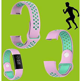For Fitbit Charge 3 Plastic / Silicone Bracelet for Women / Size S Pink Turquoise Watch
