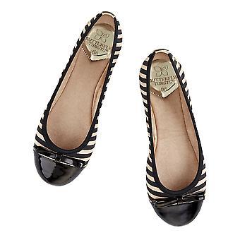 Butterfly Twists Cara - Folding Ballerina Pumps - Navy / White Stripe, Black / Tan Stripe