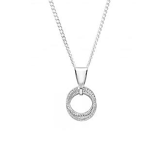Eternity 9ct White Gold Double Cubic Zirconia Circle Pendant And Chain