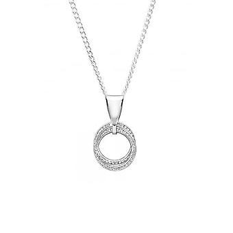 Evigheden 9ct hvid guld dobbelt cubic zirconia cirkel vedhæng og kæde