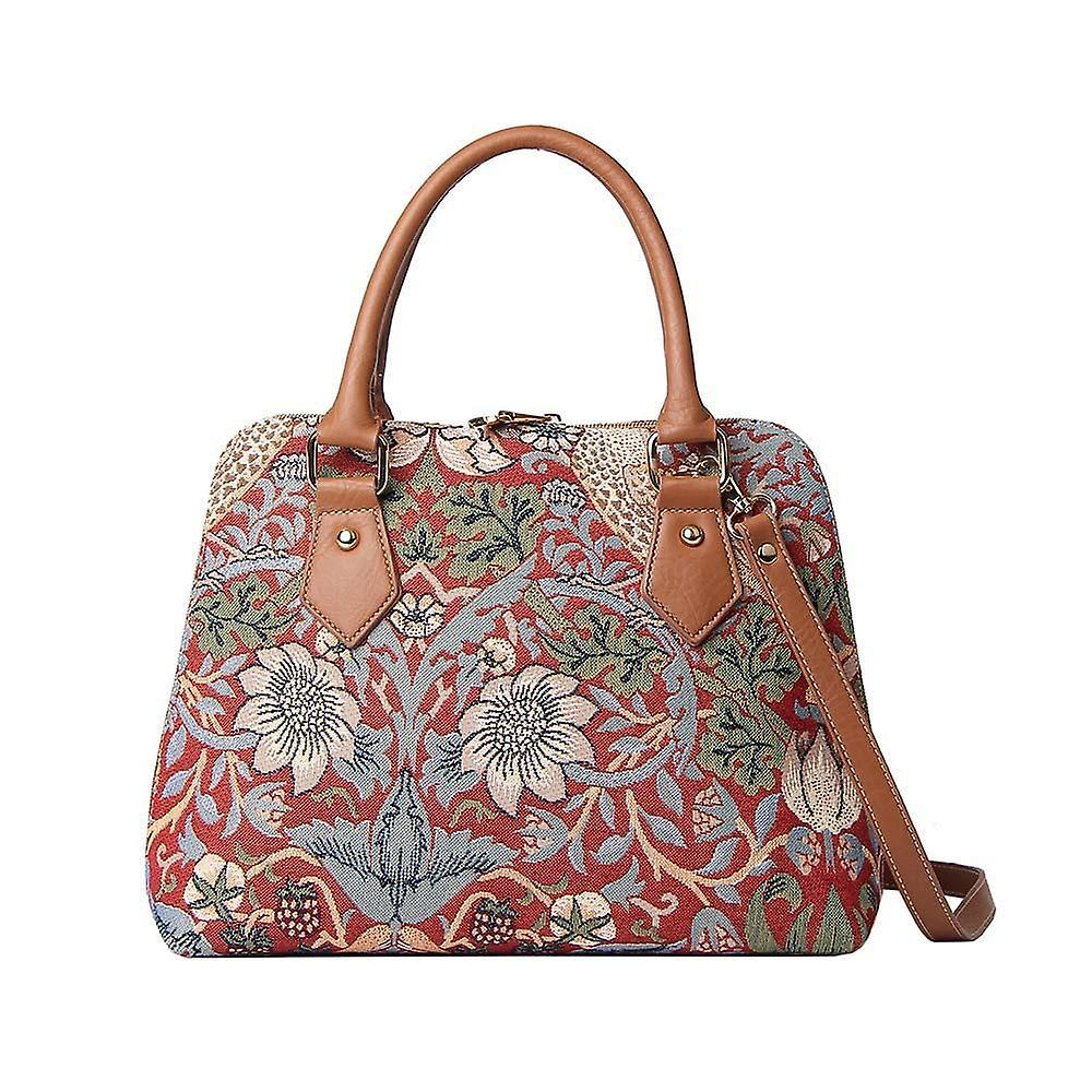 William morris - strawberry thief red top-handle shoulder bag by signare tapestry / conv-strd