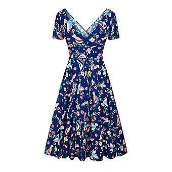 Collectif Vintage Women's Maria Flared Charming Bird Dress