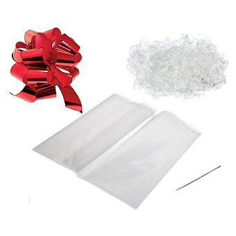 Gift or Hamper Wrapping Kit - Red Pull Bow, Clear Shred & 100cm x 130cm Bag