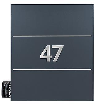 Mocavi Box 141 design brievenbus met kranten compartiment incl. 2 huis nummers antraciet-grijs (RAL 7016), roestvrijstaal detail, muur brievenbus groot