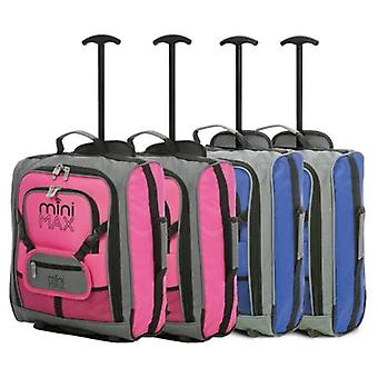 Minimax (45x35x20cm) childrens luggage carry on suitcase with backpack and pouch (x2 pink + x2 blue)