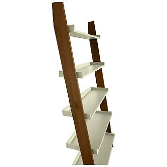 Fusion Living Modern Retro Walnut And Vanilla Ladder Shelf