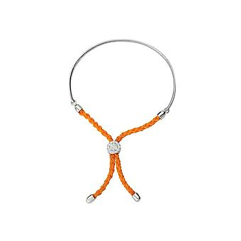 925 Sterling Silver Rhodium Plated Bar Orange Braided Macrame Bracelet 7 Inch Jewelry Gifts for Women