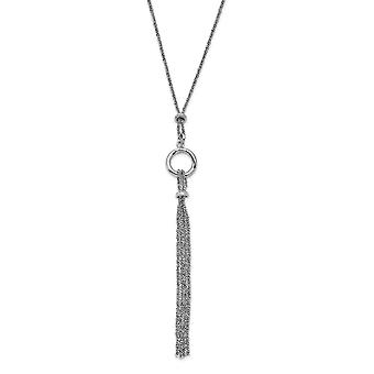 925 Sterling Silver Rhodium plated Tassel With 1.5inch Ext Necklace 15 Inch - 6.7 Grams