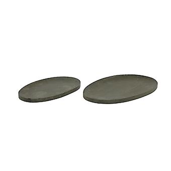 Light & Living Dish Set Of 2 37x22x2 And 44x29x2cm Domain Oval Zinc Black