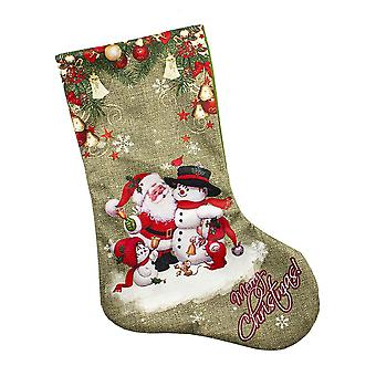 Patterned Christmas Stocking-Santa Claus