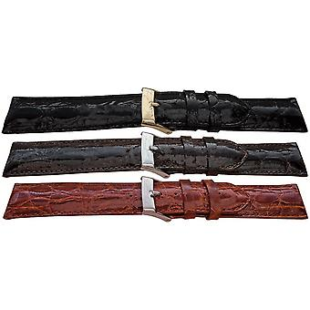 Genuine crocodile watch strap padded high sheen
