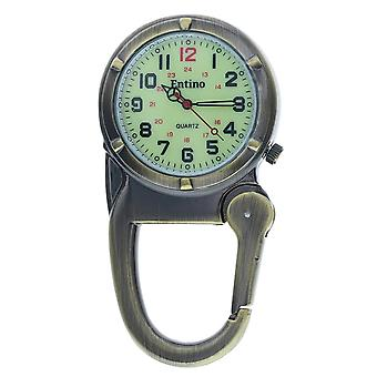 Entino Silver Clip on Carabiner Antique Bronze FOB Watch Luminous Dial Ideal For Doctors Nurses Camping