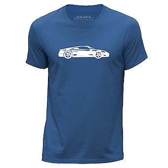 STUFF4 Men's Round Neck T-Shirt/Stencil Car Art / M600/Royal Blue