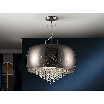 Schuller Caelum - Lampe en métal, finition chromée. Ombre en verre soufflé dans la couleur argentée miroir. Décoration d'effet étoilé. A l'intérieur avec des rayures de cristal à facettes. - 618547