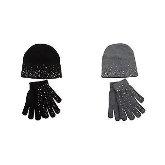 Foxbury Womens/Ladies Diamante Hat And Glove Set