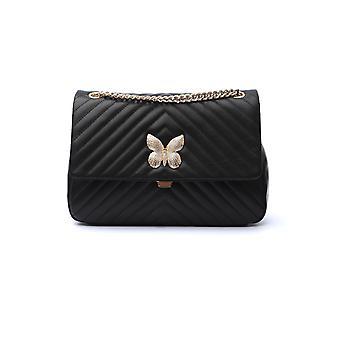 Twin-set 192ta710200006 Women's Black Leather Shoulder Bag