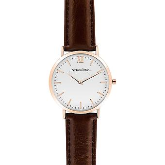 Watch Andreas Osten AO-32 - Leather Watch Brown Bo tier Dor Rose Mixed